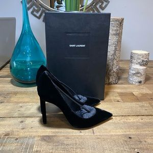 Saint Laurent Black Velvet Pumps